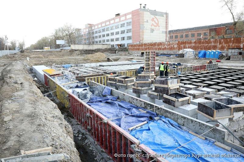Строительство путепровода по проспекту Машиностроителей в Кургане.