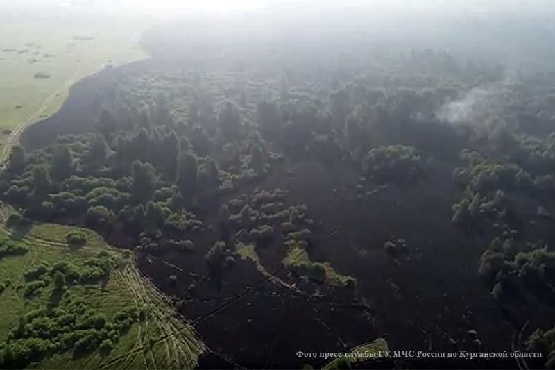 Третий день пожарные борются с крупным лесным пожаром в Мишкинском районе