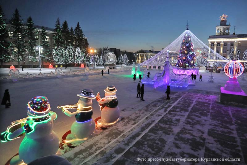 Новогоднее освещение центрально площади Кургана
