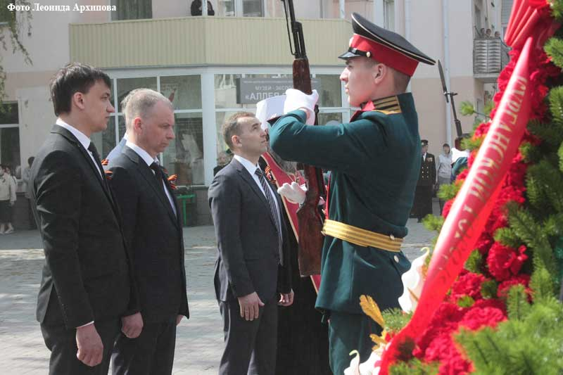 Парад в честь Дня Победы на площади Кургана